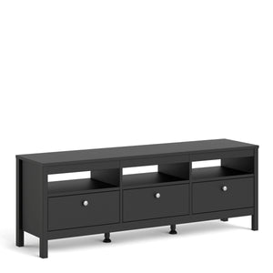 Cabinet Madrid | TV Stand | 3 Drawers | Matt Black