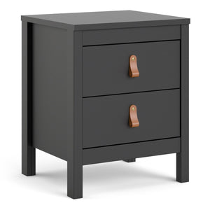Cabinet Matt Black Barcelona Bedside Table | 2 drawers | White or Matt Black