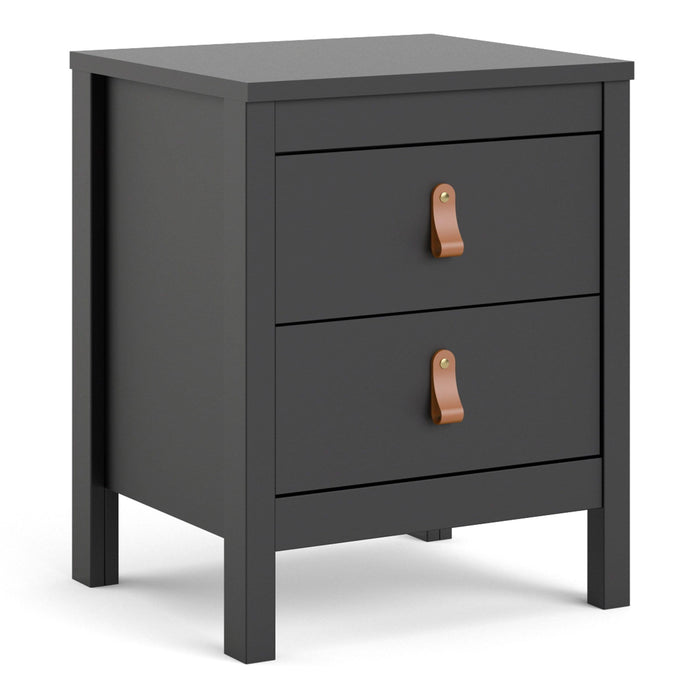 Barcelona Bedside Table | 2 drawers | White or Matt Black
