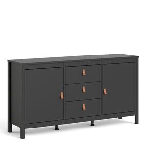 Cabinet Matt Black Barcelona Sideboard | 2 doors + 3 drawers | White or Matt Black