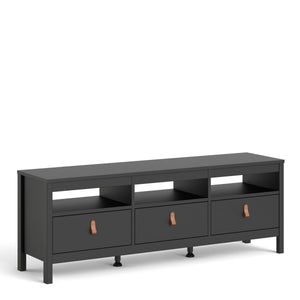 Cabinet Matt Black Barcelona Tv Stand | 3 drawers | White or Matt Black