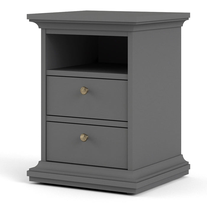 Cabinet Paris Bedside Table | 2 Drawers | Matt Grey