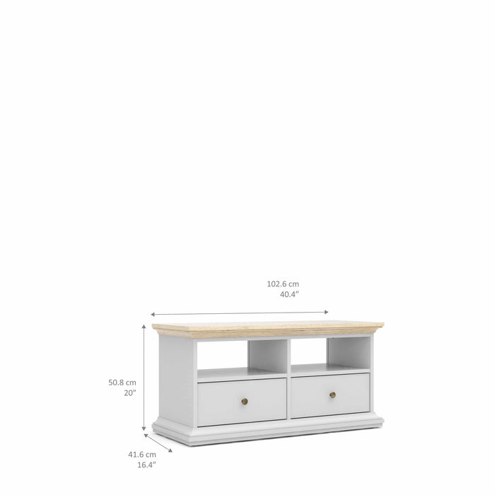 Cabinet Paris TV Stand | 2 Drawers 2 Shelves | White and Oak