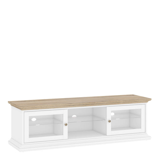 Cabinet Paris TV Unit | 2 Doors 1 | Glass Display | White and Oak