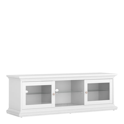 Cabinet Paris TV Unit | 2 Doors 1 Shelf | Glass Display | White