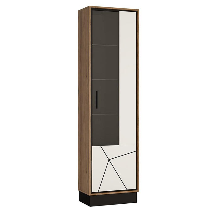 Brolo Tall Glazed Display Cabinet | White, Black & Dark Wood
