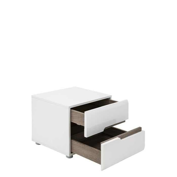 Chelsea Bedside Cabinet | 2 Drawer | White with Oak Trim