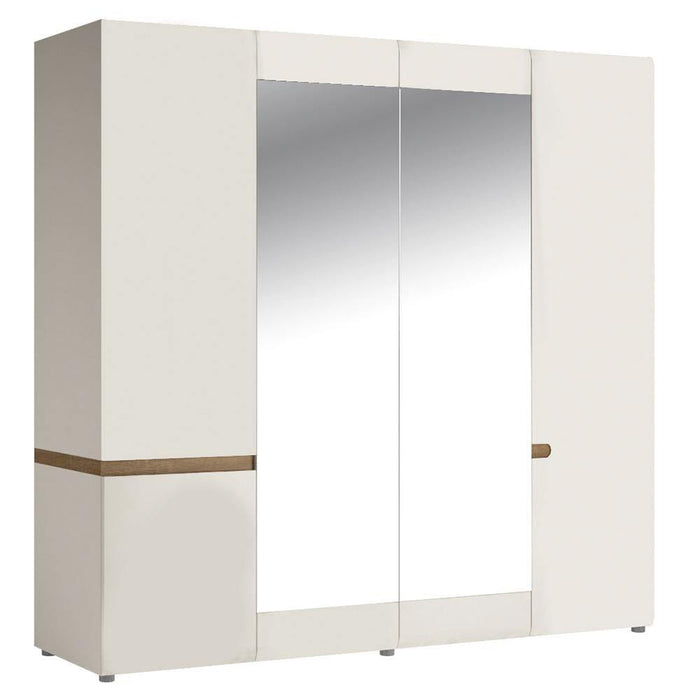 Wardrobe Chelsea Wardrobe | 4 Door |  mirrors and Internal shelving White with oak trim