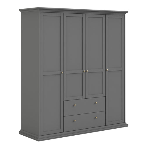Wardrobe Paris Wardrobe | 4 Doors & 2 Drawers | Matt Grey