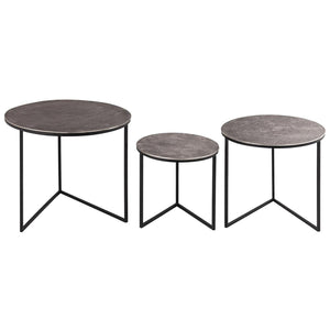 Table Farrah | Cast Silver | Nest of Three Round Tables