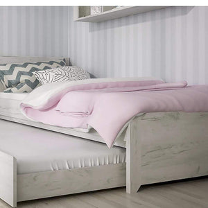 Bed Angel Single Bed with Underbed Drawer | White Craft Oak