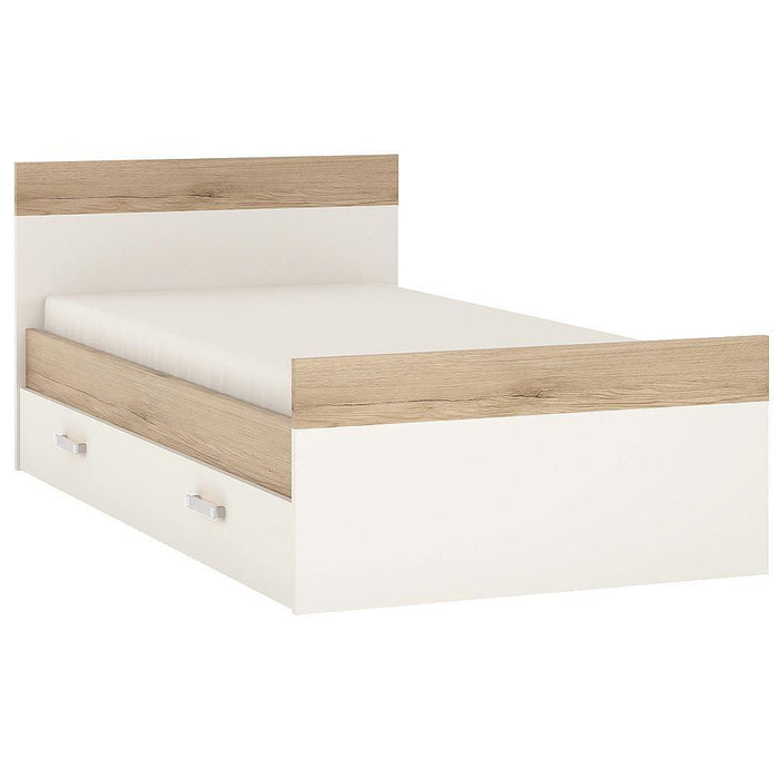 4Kids Single Bed with UnderBed Storage | Light Oak and White High Gloss