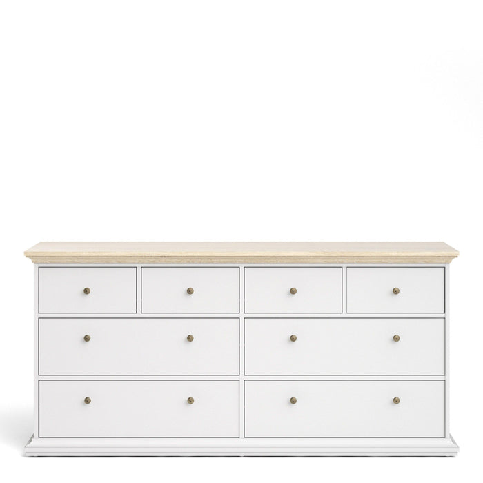 Bed Paris Chest of 8 Drawers | White and Oak