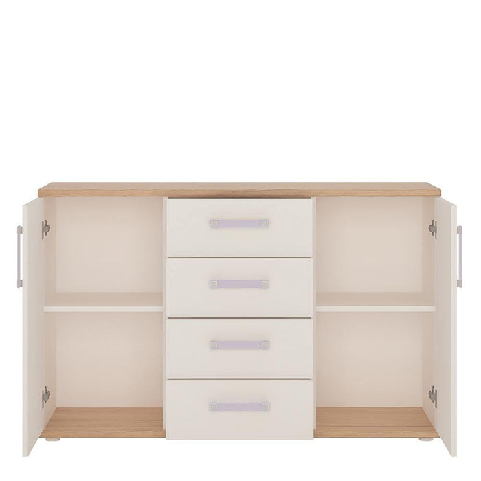 Cabinet 4Kids 2 Door 4 Drawer Sideboard Light Oak and White High Gloss