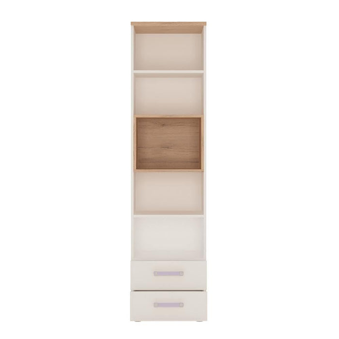 Cabinet 4Kids Tall 2 Drawer Bookcase | Light Oak and White High Gloss
