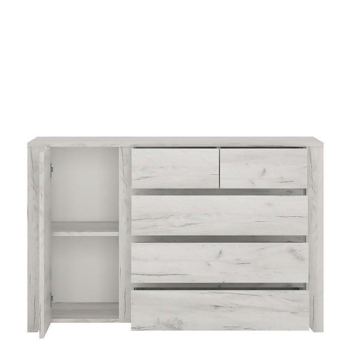 Cabinet Angel 1 Door 2+3 Drawer Chest | White Craft Oak