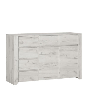 Cabinet Angel 2 Door 3+3 Drawer Wide Chest | White Craft Oak