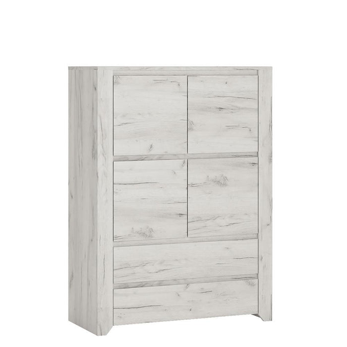 Angel 4 Door 2 Drawer Storage Unit | White Craft Oak