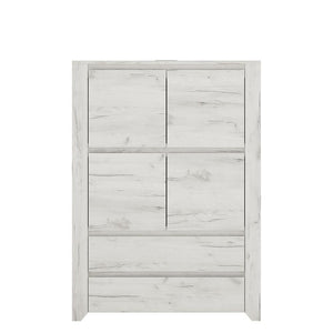 Cabinet Angel 4 Door 2 Drawer Storage Unit | White Craft Oak