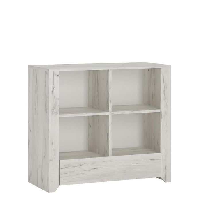 Angel Low Bookcase | White Craft Oak