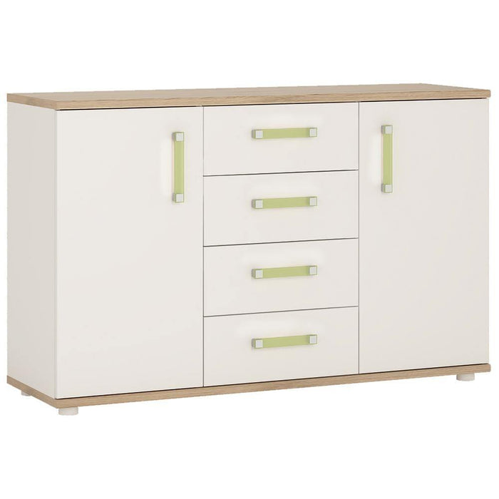 Cabinet Lemon 4Kids 2 Door 4 Drawer Sideboard Light Oak and White High Gloss