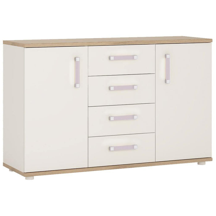 Cabinet Lilac 4Kids 2 Door 4 Drawer Sideboard Light Oak and White High Gloss