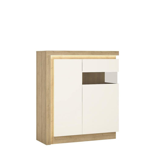 Cabinet Oak & White Lyon Designer Cabinet | 2 Door | Right Hand | LED Lights | Two Styles