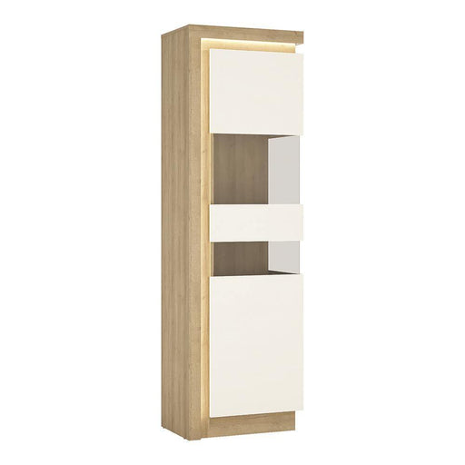 Cabinet Oak & White Lyon Tall Narrow Display Cabinet | Right Hand | LED Lighting | Two Styles
