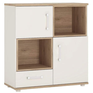 Cabinet Opalino 4Kids 2 Door 1 Drawer Cupboard with 2 Open Shelves Light Oak and White High Gloss