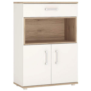 Cabinet Opalino 4Kids 2 Door 1 Drawer Cupboard with Open Shelf Light Oak and White High Gloss