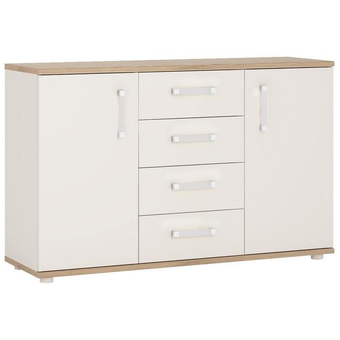 Cabinet Opalino 4Kids 2 Door 4 Drawer Sideboard Light Oak and White High Gloss