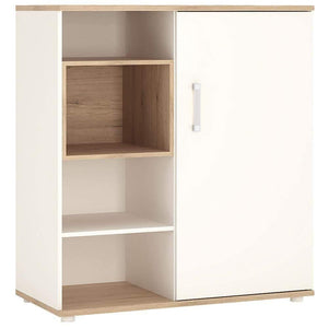 Cabinet Opalino 4Kids Low Cabinet with Shelves & Sliding Door | Light Oak and White High Gloss