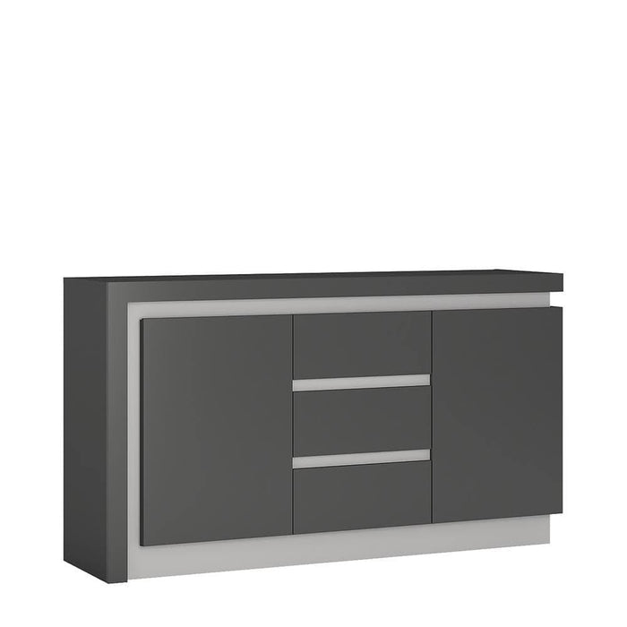 Cabinet Platinum & Grey Lyon Sideboard | 2 Door | 3 Drawer | LED Lighting | Two Styles