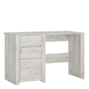 Desk Angel 2 Drawer 1 Door Desk | White Craft Oak