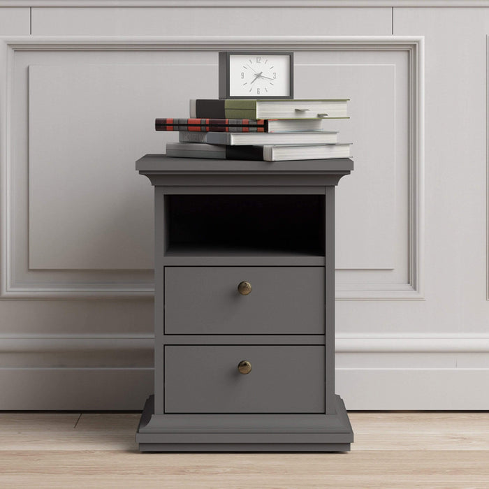 Paris Bedside 2 Drawers in Matt Grey Matt Grey