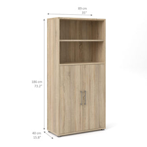 Prima | Bookcase | 4 Shelves | 2 Doors | 3 Colours