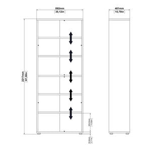Prima | Bookcase | 5 Shelves | 2 Doors | 3 Colours