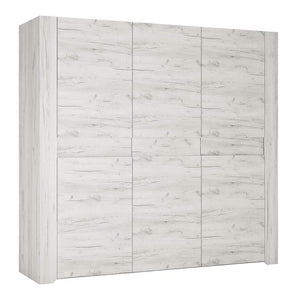 Wardrobe Angel 3 door Wardrobe | White Craft Oak