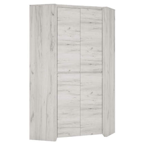 Wardrobe Angel Corner Wardrobe | White Craft Oak