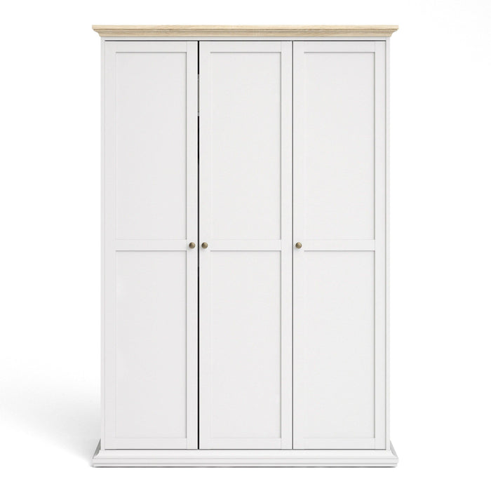 Wardrobe Paris 3 Door Wardrobe | White and Oak