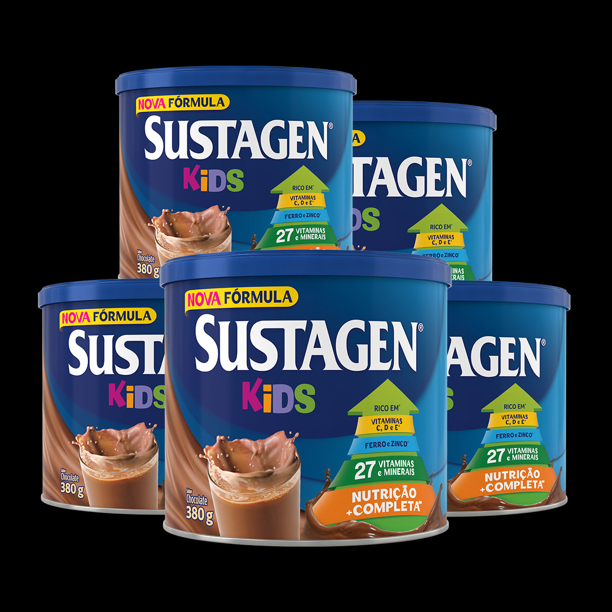 Kit Leve 5 Pague 4 - Complemento Alimentar Sustagen Kids Sabor Chocolate - Lata 5x380g
