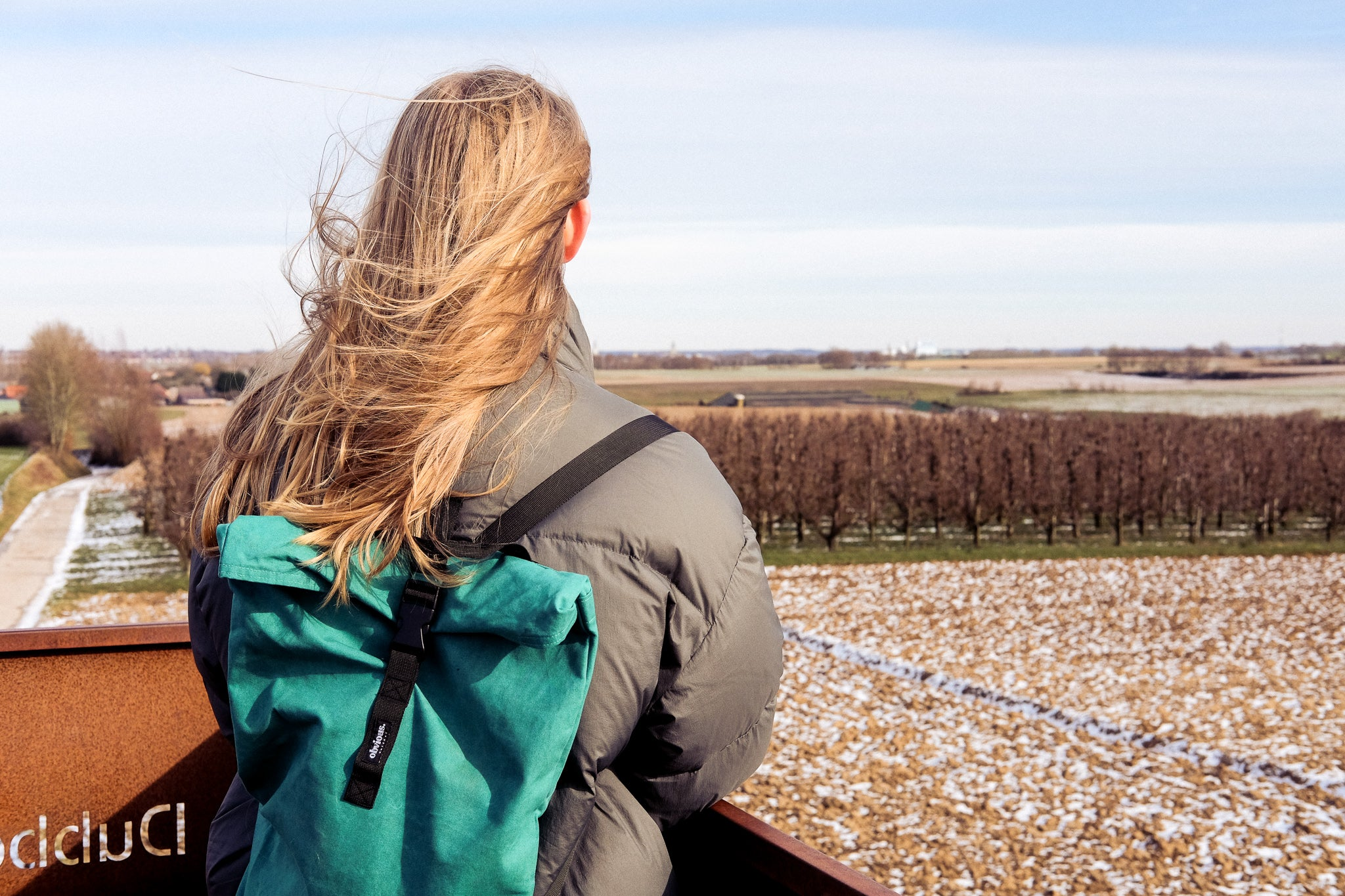 woman looking over the fields
