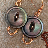 Smoky Rainbow Grey Mother-of-Pearl Vintage Button Earrings