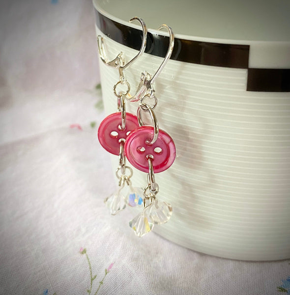 Pink Mother-of-Pearl Button Earrings with Aurora Borealis Crystal Cluster Dangle