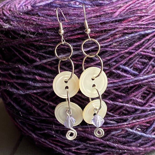 White Mother-of-Pearl Button Earrings with Purple Glass Bead Dangle