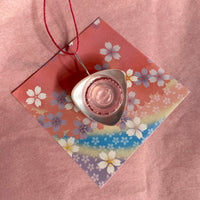 Floral Pink and White Button Stack Pendant