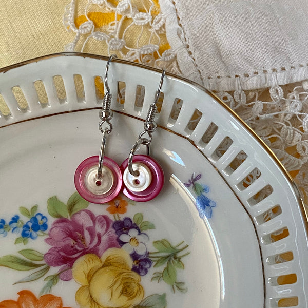 Pink & White Mother-of-Pearl Button Stack Earrings