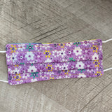 Reversible Children's Cotton Face Mask (with nose wire) - Daisies/Purple Floral
