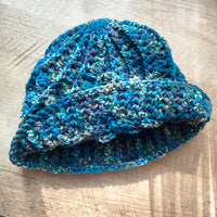 Merino Wool Hat Hand Crocheted with Blue Green Variegated Twist Yarn