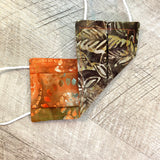 Reversible Cotton Face Mask (with nose wire) - Orange Autumn Batik/Leaves Batik